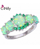 CiNily Fire Opal Green Zirconia Silver Plated Ring