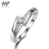Classic Sliver Color Created Cubic Zirconia Ring