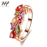 Colorful Stone Rose Gold Cubic Zircon Crystal Engagement Ring