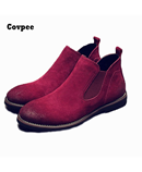 Cotton Red British Matte Leather Chelsea Boots