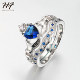 Crown Heart Exquisite Design of Love Set Claddagh Blue CZ Crystal Ring