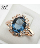 Cubic Zirconia Rose Gold Blue Ring