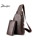 DEELFEL Brown Leather Crossbody Bag Waterproof PU