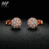E381 Ball Crystal Pink Gold Stud Earrings
