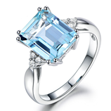 Elegant Blue Zircon Silver Square Shape CZ Stone Ring