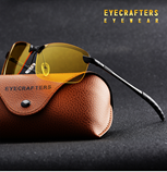 Eyecrafters Mens Rimless Polarized Yellow Lens Night Vision Sunglasses