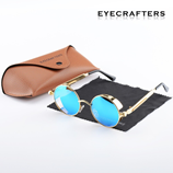 Eyecrafters Round Metal Blue Polarized Glasses