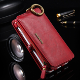 FLOVEME Red Card Slot Wallet Case Retro Leather Cover Bag