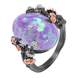 Fire Opal Beautiful Tree Black Purple Flower Ring