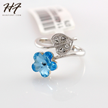 Flower Blue Crystal Ring Color Silver Austrian Crystal Ring