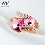 Flower Plum Flower Rose Gold Austrian Crystal Ring