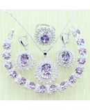Flower White zircon Purple Crystal Jewelry Set