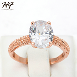 Four Claw Oval CZ Crystal Rose Gold Wedding Ring