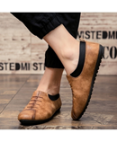 GNOME Brown Slip-On PU Leather Loafers