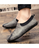 GNOME Gray Slip-On PU Leather Loafers