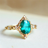 GS New Fashion Gold Color Blue Stone Zircon Lady Ring
