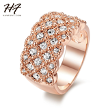 Genuine Austrian Crystal  Fully-Jeweled Rose Gold Ring