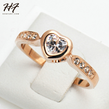 Genuine Austrian Crystal Heart Shape Rose Gold Ring
