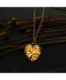 Gold Color with Heart Shaped Choker Pendant Necklace