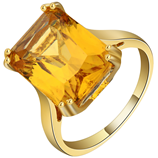 Gold Yellow Cubic Zirconia Design Square Finger Ring