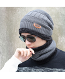 Gray Beanies Knit Winter Caps with Collar