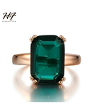 Green Big Square Crystal Rose Gold Ring