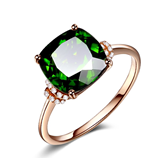 Green Charm Zircon Rose Gold Color Cocktail Ring