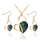 Green Crystal Heart Jewelry Set