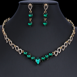 Green Exquisite Crystal Necklace Earring Jewelry Set