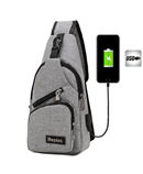 Grey Chest Single Shoulder Strap Back Pack Bag