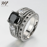 HERFANS Color Silver Square Black Square Stone Ring Set