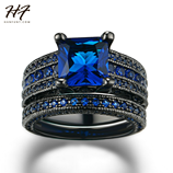 HF New Black Fashion Luxury Blue Cubic Zirconia Ring Set