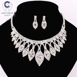 HanCheng Full Strass Leaf Wedding Set Luxury Pendant Necklace