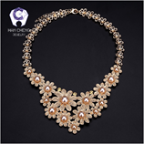 HanCheng New Fashion Gold Silver Metal Strass Pearl Necklace