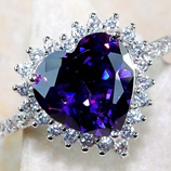 Heart Shaped Purple Crystal Ring