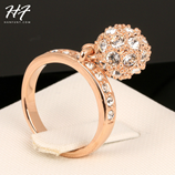 Hot Cubic Zirconia Ball Finger Party Pink Gold Fashion Ring