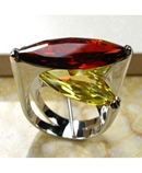 Huge Garnet Yellow Crystal Zircon 925 Sterling Silver Ring