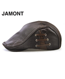 JAMONT Choco Brown Berets PU Leather Hat Flat