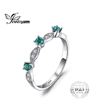 JewelryPalace 3 Stones Round Created Emerald Ring