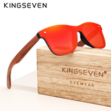 KINGSEVEN Brand Vintage Red Wooden Square Frame Rimless Sunglasses