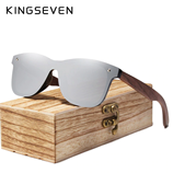 KINGSEVEN Brand Vintage Silver Wooden Square Frame Rimless Sunglasses