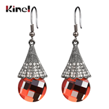 Kinel Hot Skirt Drop Black Color Red Glass Crystal Earrings