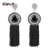 Kinel Natural Pearls Black Tassel Vintage Crystal Drop Earrings