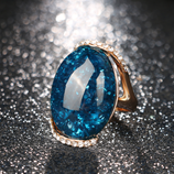 Kinel Rose Gold Color Blue Long Elliptic Ring