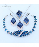 LB Blue Crystal White Zircon Jewelry Sets with 925 Stamp