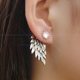 Leaf Angel Wings New Fashion Crystal Flower Imitation Earrings