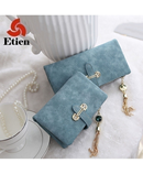 Light Blue Soft Matte Suede Zipper Wallet