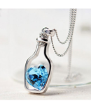 Love Bottle Blue Heart Crystal Pendant