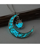 Luminous Crescent Moon Shaped Pendant Necklace