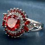 Luxury Design Full Red Cubic Zircon Blooming Flower Ring